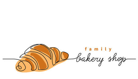 Bakery shop or store vector sign, banner, poster, background. One continuous line drawing of croissant with lettering family bakery shop