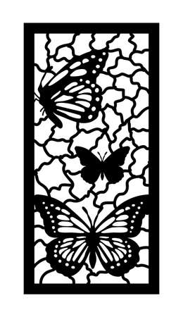 Cnc pattern with butterfly. Decorative panel, screen,wall. Vector butterfly cnc panel for laser cutting. Template for interior partition, room divider, privacy fence Illusztráció