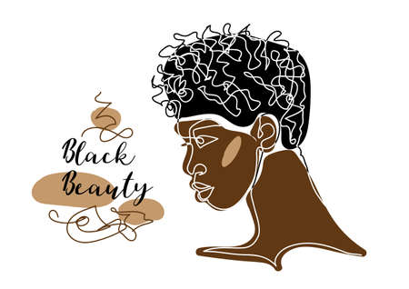 Black afro man s face vector portrait. African man with curly hair. Black beauty text