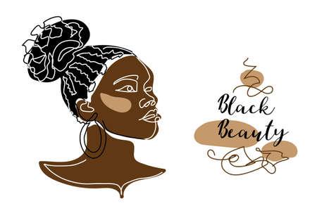 Black afro woman, girl face vector portrait. African woman with curly hair. Black beauty text Illusztráció