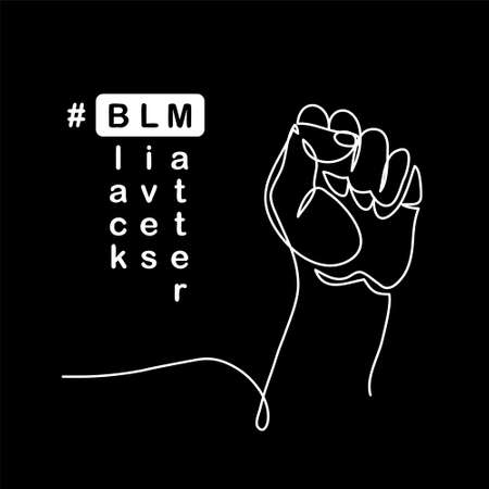 Black lives matter vector poster, banner with fist. One line drawing illustration with text BLM, black lives matter