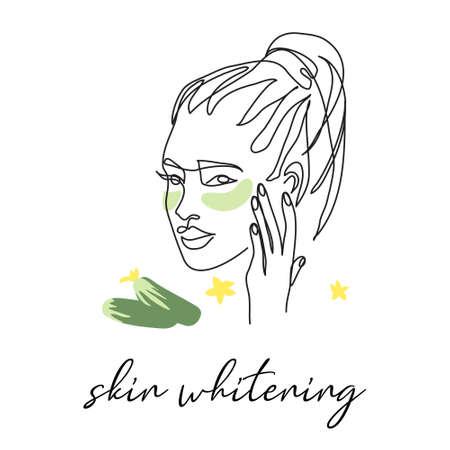 Under eye patch with cucumber, skin whitening. Face line art, pretty girl head drawing Illusztráció