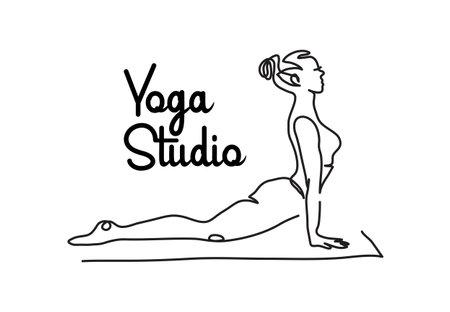 Yoga studio simple vector signboard, poster, banner. One continuous line drawing illustration of woman in upward facing dog yoga pose Illusztráció