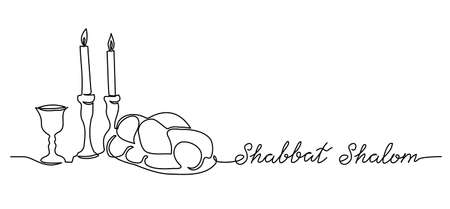 Shabbat Shalom, peaceful sabbath, vector poster, banner, background with challah, candle, wine. Shabbat Shalom lettering.