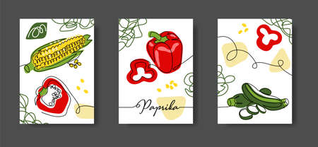 Mexican vegetables wall line art decoration, poster. Set of vector illustrations. One continuous line drawing of vegetables paprika, corn, zucchini for kitchen or cafe decoration Vetores