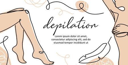 Body depilation vector banner. Lady legs, armpit simple poster, background, label design. One continuous line art. Body depilation illustration Ilustración de vector