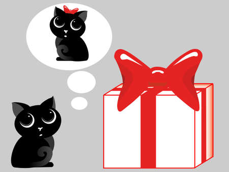 dekor: The kitten gives a gift with a bow to a kitty