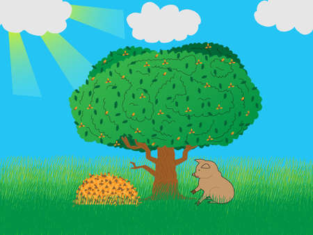 eats: The pig under an oak eats acorns