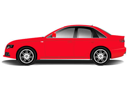 ruedas de coche: Auto deportivo rojo sobre un fondo blanco