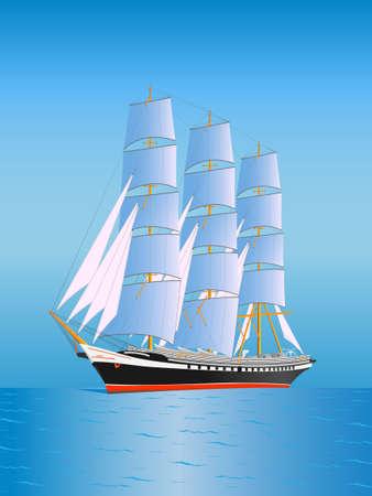 barco con velas en alta mar Vectores
