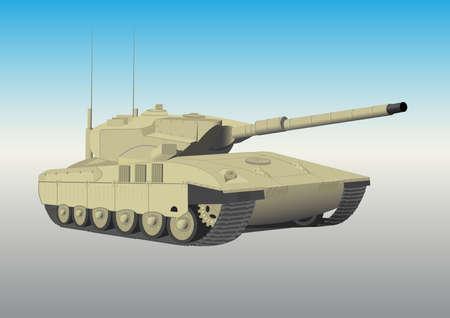 The military caterpillar tank with a gun Vector