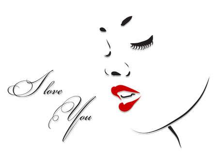 Beautiful woman face profile. Beauty vector illustration