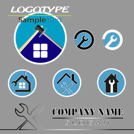 firms: vector set of various templates, logo for firms which build, renovate houses, apartments, villas turnkey
