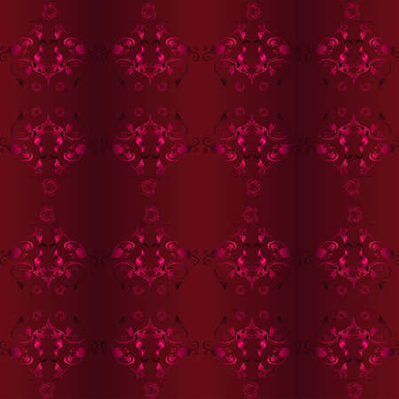 rebirth: Seamless vector background with Burgundy pattern of the vine and the stork Illustration