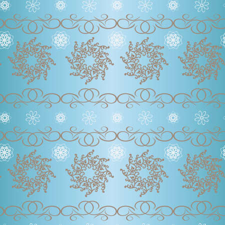 branching: seamless smooth, soft vector background with the image of a branching pattern of white silhouettes of flowers on a blue background