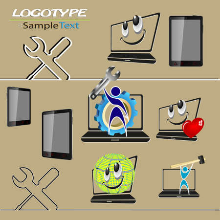 laptop repair: a set of logos, with a picture of a laptop, a wrench with a screwdriver mobile phone repair, PC maintenance, laptop