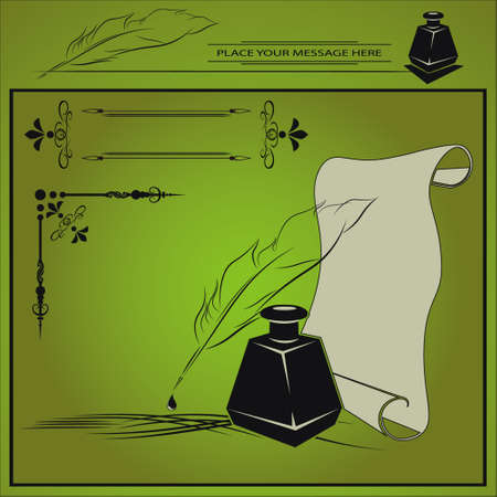 inkstand: vector illustration with inkstand, pen, paper, and frame with area done in retro style on green background Illustration