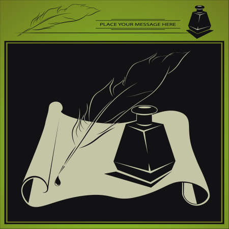 inkstand: vector illustration with inkstand standing on the paper in retro style and pen