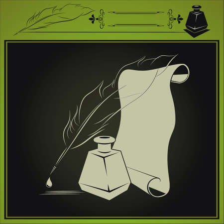 inkstand: vector illustration with inkstand, pen and paper done in retro style on dark background Illustration