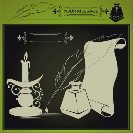 inkstand: vector illustration with inkstand, pen and paper, candle is drawn in a retro style