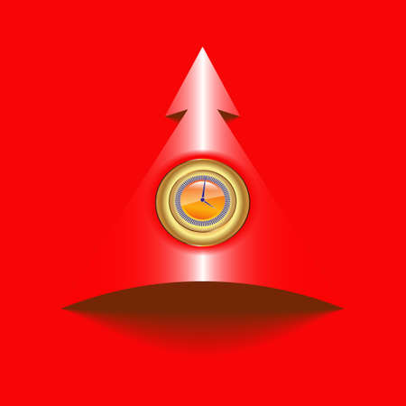 Vector illustration of sign, labels in the form of a circle with a clock face and an arrow pointing up direction,