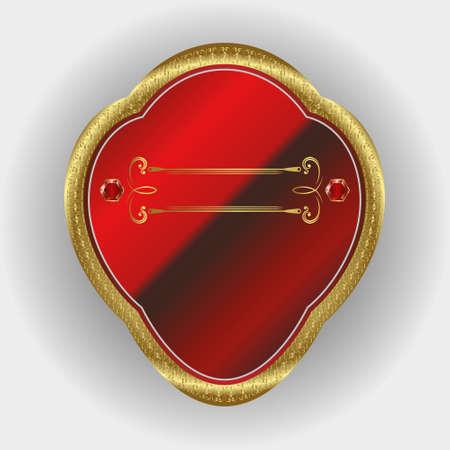 emblem red: Vector illustration of sign, symbol, emblem red with gold frame