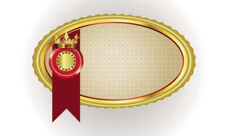 illustration vectorielle d'un cadre ovale avec une jante d'or et marque premium, emblème et couronne sur ruban rouge avec place pour le texte