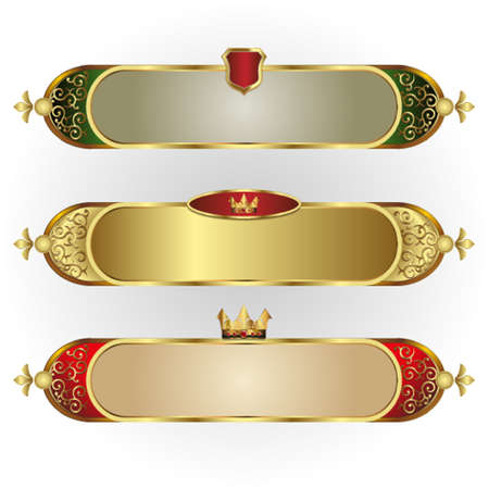 Vector set of frames oblong shape with a gold rim, crown, and branching pattern Illustration