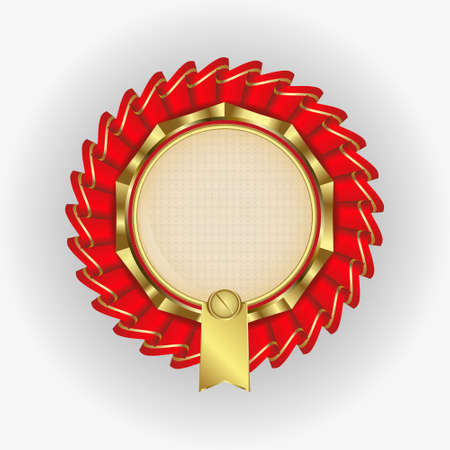 solemn: a solemn logo with gold rim, photo and text and ribbons around Illustration