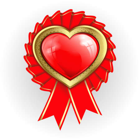 flaming heart: red flaming heart with a gold border and ribbons around Illustration