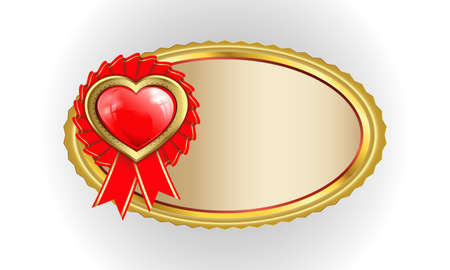 vector illustration of an oval frame with a gold rim and a red heart, award badge with red ribbon and place for text
