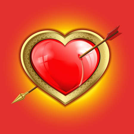 punched: volume red glare, the reflection of the Windows of the heart with a gold border is punched with an arrow with a gold tip Illustration
