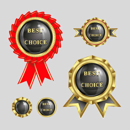set of illustrations,  symbol, trademark best choice with a shiny black background inside and a place for text, gold rim tape