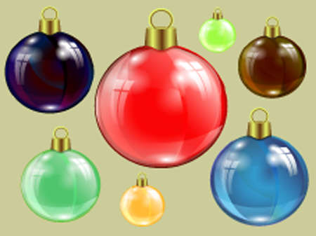 set of Christmas colored specular highlights, reflection of window beads