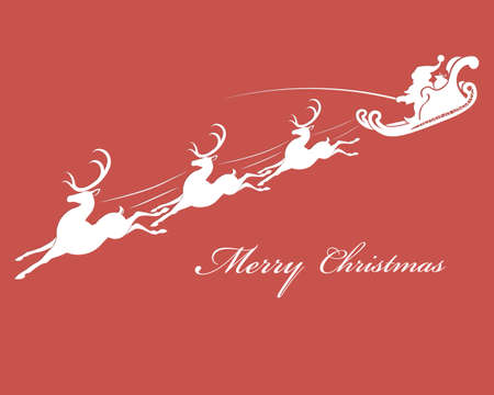 santa sleigh: vector illustration of Santa Claus in the sleigh with moving reindeer
