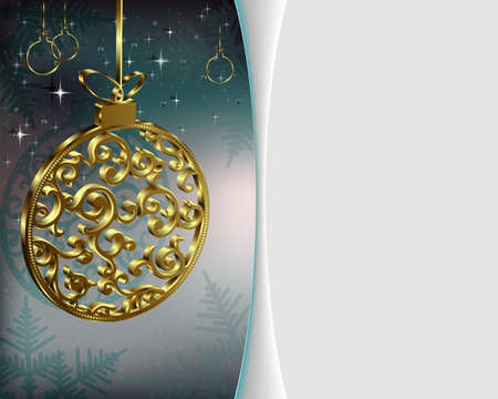 festive background: Christmas festive background with Christmas balls gold color with place for text