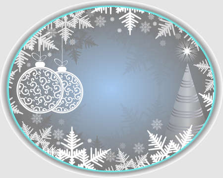 bright Christmas background with Christmas tree, snowflakes and white,with delicate edging