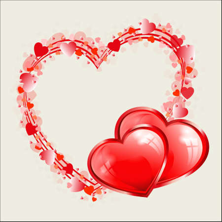 Red design with a silhouette of a heart in a frame with place for photo and text Illustration