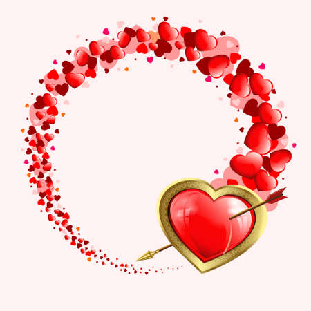 flirt: Design with a silhouette of a heart with an arrow and a set of red hearts of various sizes