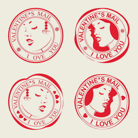 flirt: A set of stamps Valentine s Day with delicate feminine profile
