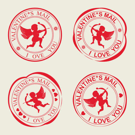 flirt: A set of stamps Valentine s Day with Cupid,arrow and bow