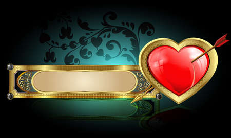 Dark heart design with a gold border and the arrow,the rectangular frame with gold framing