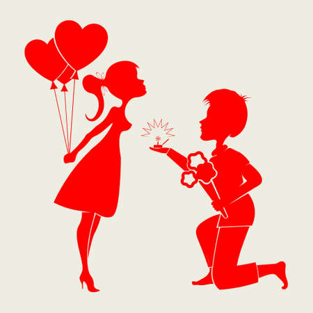 Romantic silhouettes of a loving couple guy s on his knees and a girl with a wedding ring,a bouquet of flowers and balloons in hand