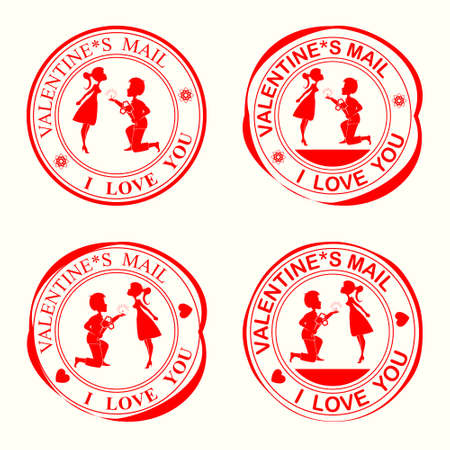 flirt: A set of stamps with silhouettes of lovers,the girl and the guy on his knees with flowers on Valentine s Day