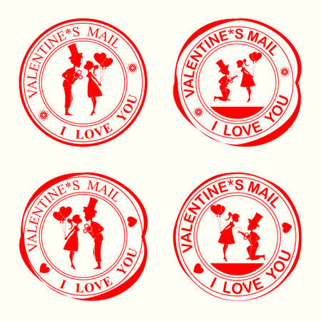 A set of stamps with silhouettes of lovers,the girl and the guy in the hat on my knees with flowers with wedding ring Illustration