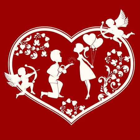 The design of the silhouette of a heart with cupids,lovers inside a guy with a bouquet of flowers and wedding ring, and girl with balloons Illustration
