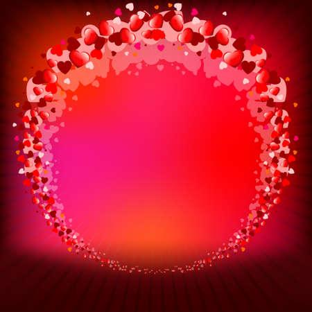 flirt: Red background with round frame Illustration