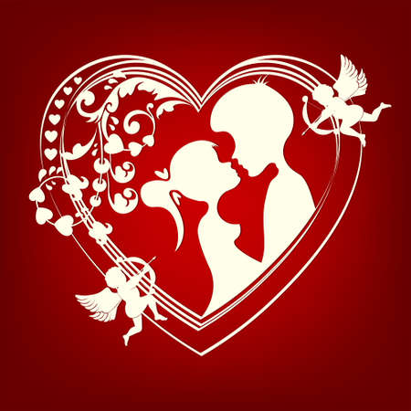 flirting: the silhouette of a heart with two lovers Illustration