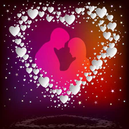 flirt: Silhouette of a couple inside  white heart