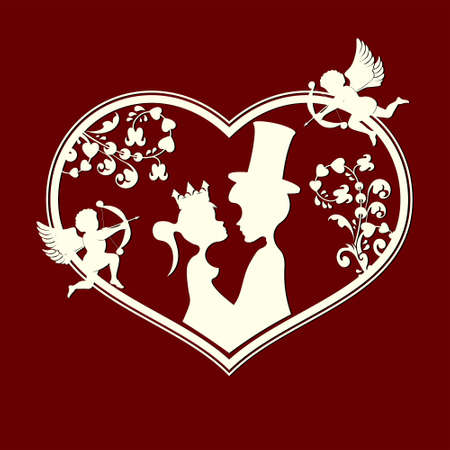 flirt: Fabulous silhouettes of the Prince and Princess with cupids